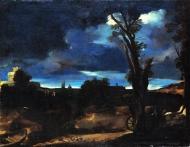 Paesaggio al chiaro di luna - il Guercino