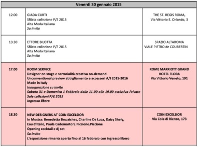 Calendario AltaRoma AltaModa 1