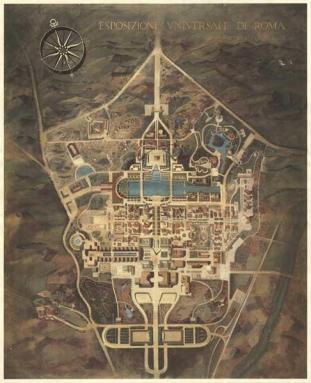 Assonometria generale del piano urbanistico dell'E42, 1940