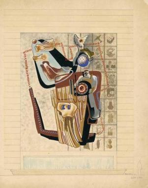 Enrico Prampolini, Bozzetto de Le Corporazioni, mosaico per il Museo delle Arti e Tradizioni Popolari, 1941