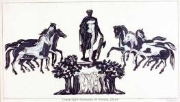 Gino Severini, Romolo fondatore, bozzetto per i mosaici della fontana di Palazzo degli Uffici, 1939