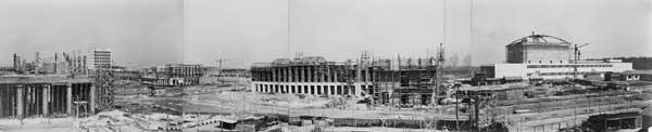 Panoramica dei cantieri nell'area dell'Esposizione, 1940