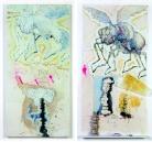 THE MURDER OF WINNIE. 2009 Tecnica mista su carta applicata su tela e su tavola, argilla cruda, ceramica, cm 120x120 (dittico)
