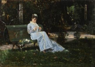 Cristiano Banti, Ritratto di Alaide seduta in giardino, antica collezione Banti