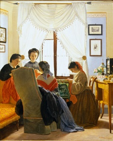 Odoardo Borrani, Cucitrici di camicie rosse (1863), già collezione Edoardo Bruno
