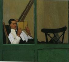 Oscar Ghiglia, Gustavo Sforni in veranda che legge, antica collezione Gustavo Sforni