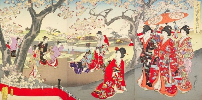 Chikanobu, Cherry Blossom Viewing, 1894